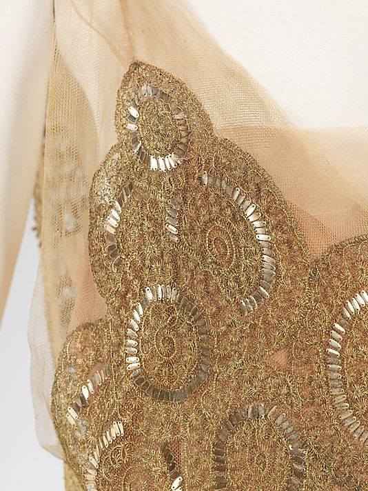 "Detail of House of Lanvin evening dress, 1923.  Notes from Met Museum: ""This Lanvin dress is very indicative of 1920s fashionable dress. Its intricate embroidery is unique to France while the spiral motif is a Lanvin signature."":"