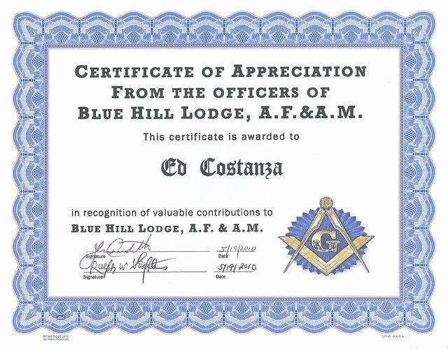 Masonic Certificate Of Appreciation Template Unique Certificates Of Certificate Of Appreciation Graduation Certificate Template Perfect Attendance Certificate