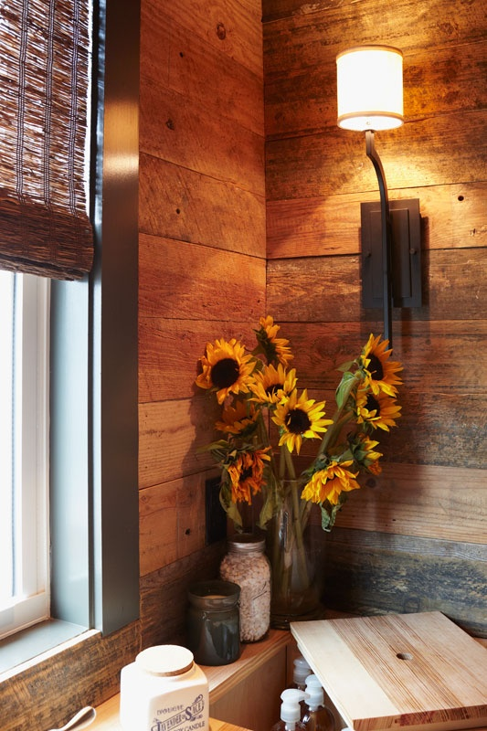 barn wood wall. I love how the different shades of brown compliment everything
