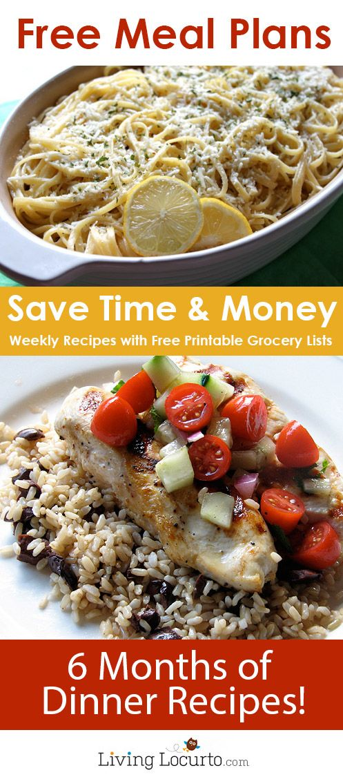6 Months Worth of Free Money-Saving Weekly Meal Plans!!!!! Printable plans in the post!