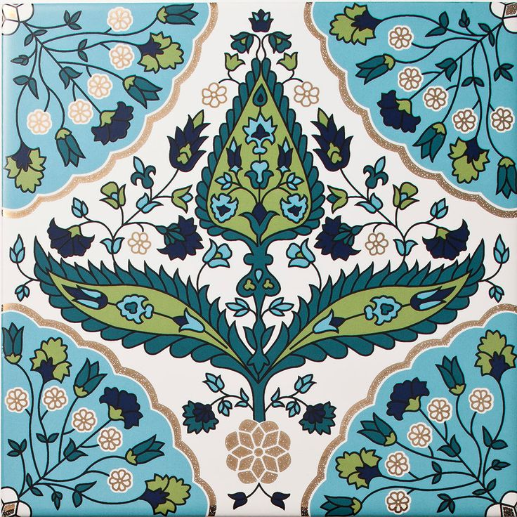 Arabesque - Zara Inset Tile. A highly decorative tile made up of interweaving floral motifs, the Zara Inset Tile looks great on its own or as part of a larger feature wall. The blue and green tones combined with liquid gold give a stylish yet elegant artistic approach to interior design.