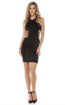 High Collar Sleeveless Bodycon Dress   Black