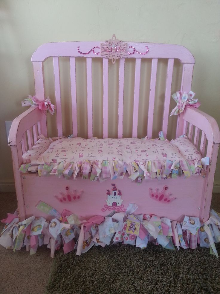 My Girls repurposed baby crib, now a Toy Chest/Bench