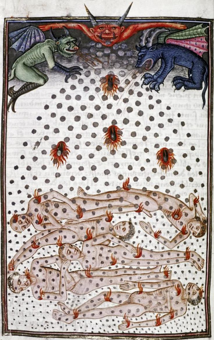 """Firestones and hail rain on the damned, from The book of our Lord's vineyard, 1470. """"Every one shall receive of Thy Words."""""""