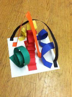 Kindergarten paper line sculptures/roller coaster and theme park paper sculpture