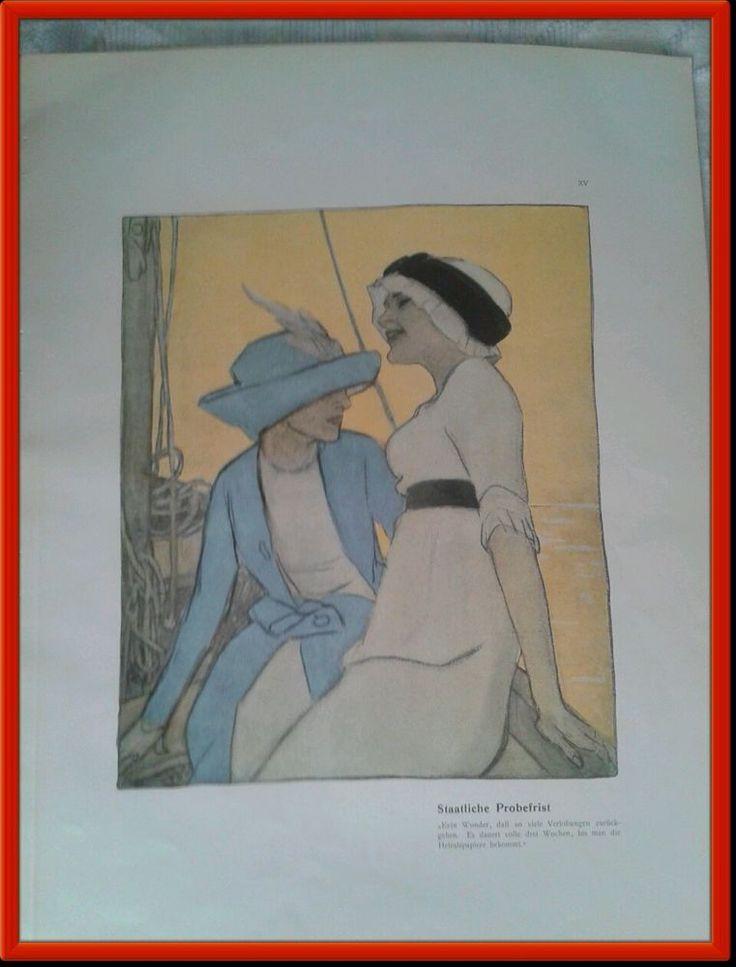 Marcello Dudovich cromolitografia, 1910, originale Album CORSO,  donne in barca. #poster #manifesti #vintage #artdeco #backissuemagazine #artnouveau #epoca #jugendstil #antiquariat  #stampe  #print