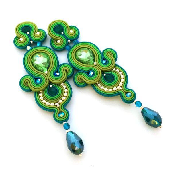 Soutache earrings - Soutache jewelry - Statement earrings - Greenery wedding jewelry   SABO Design