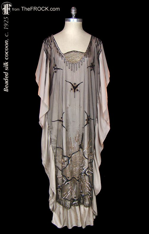 Vintage flapper era beaded cocoon dress, silk ruffles. Antique 1920s gown, caftan. (While the garment is available, details and more photos are found on our website at www.thefrock.com )