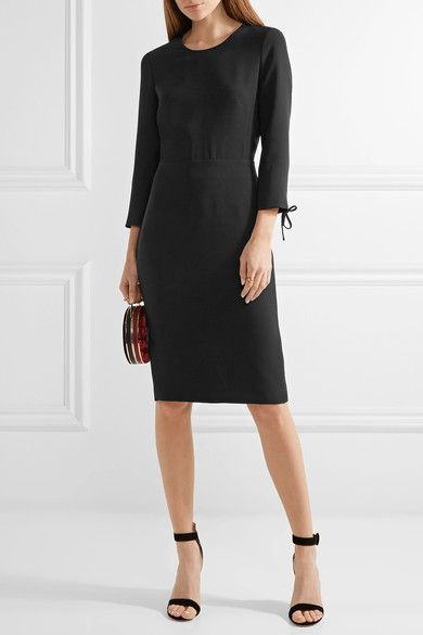 Max Mara - Open-back Crepe Dress - Black - UK12