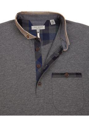 Ted Baker Geodog Woven collar polo Grey Marl - House of Fraser