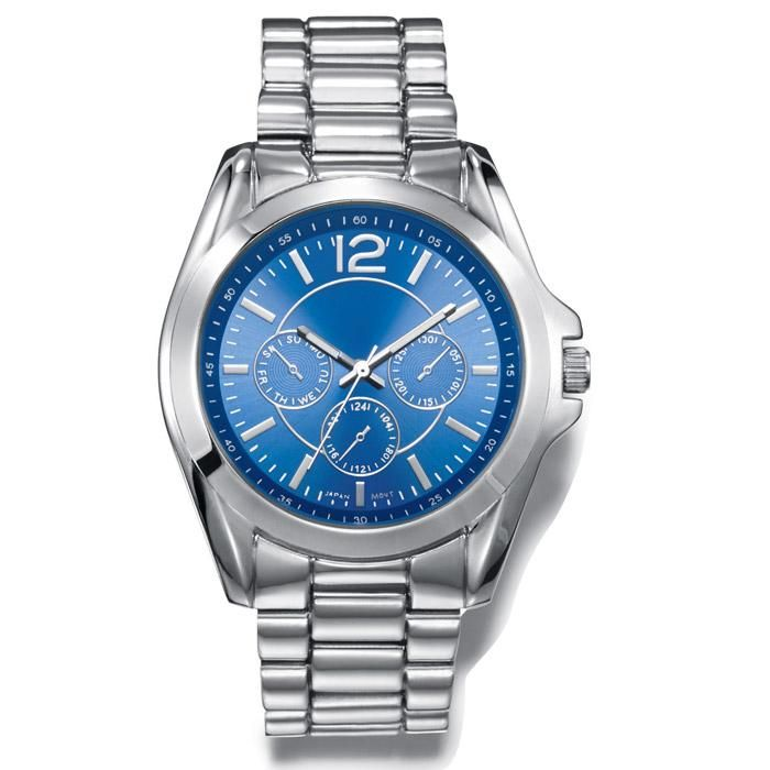 """Men's silvertone link watch with round face, metallic-look blue dial, and three faux chronographs. Band: 8 1/4"""" L x 7/8"""" W with foldover clasp; Face: 1 5/16"""" without casing/ 1 9/16"""" with casing; Battery: Replaceable SR626SW; Movement: Quartz-PC21J"""