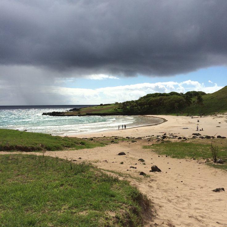 Anakena Beach, Rapa Nui National Park (Easter Island). Chile
