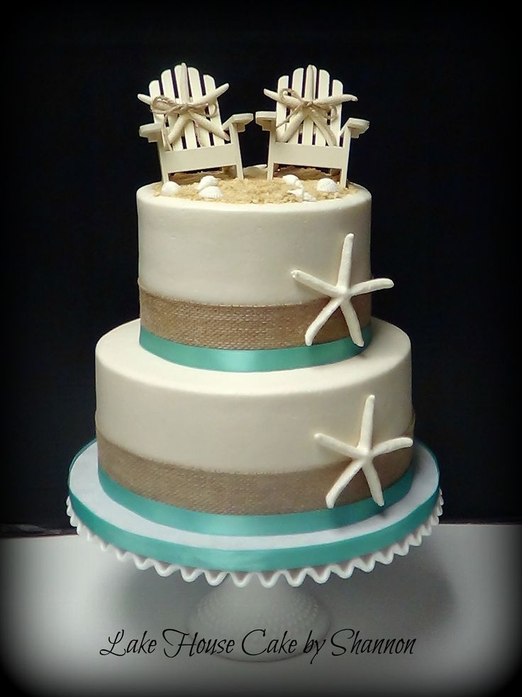 Wedding Cake, Beach themed, burlap, buttercream, starfish, beach chairs seashells sea shells turquoise, sea green, blue, Lake House Cake by Shannon Panama City Beach, FL More
