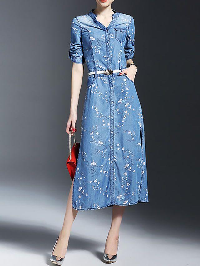 Slit Denim Midi Dress With Belt