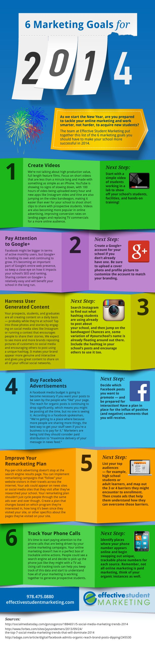 Your 6 Marketing Goals for 2014 [infographic] #highered #marketing #goals