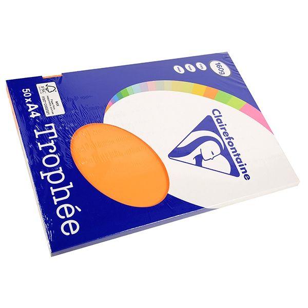 Clairefontaine gekleurd papier oranje 160 grams A4 | Met extra stevig gekleurd printpapier van Clairefontaine creëert u indrukwekkende documenten en opvallende creatieve uitingen. Het oranje A4-papier is in zowel inkjet- als laserprinters te gebruiken. Dit pak bevat 50 vel multifunctioneel gekleurd papier.