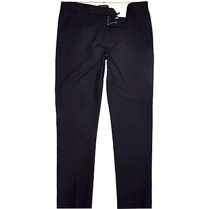 Navy cotton Oxford trousers $30.00