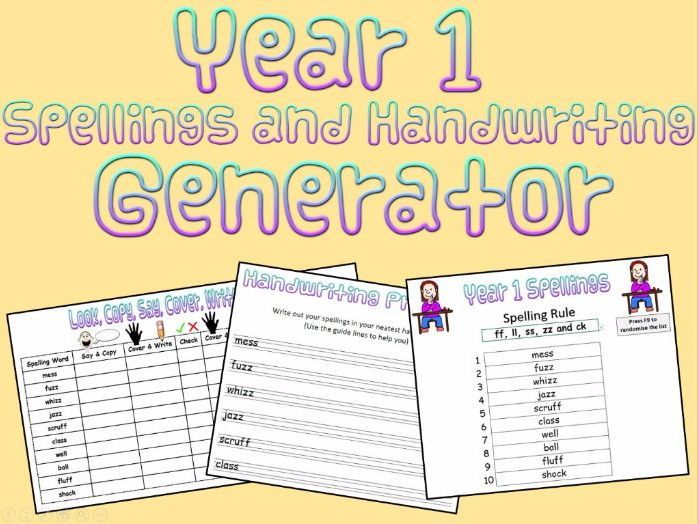 Year 1:  Spellings and Handwriting Generator