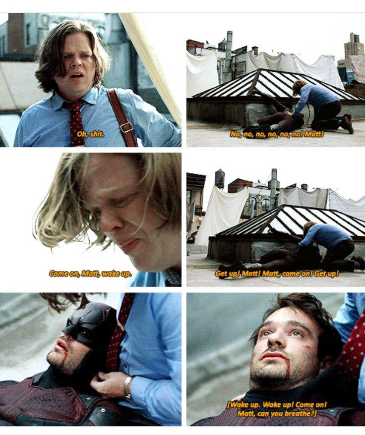 """""""Wake up! Come on! Matt, can you breathe?"""" - Foggy finds Matt #Daredevil"""