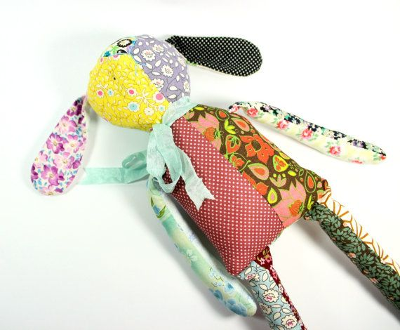hand stitched, floral patchwork rag doll rabbit .. by rosieok, $80.00