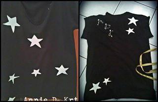 handmade shirt/ sewed stars