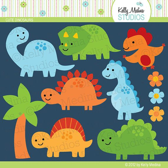 Cute Dinosaurs Green Blue Orange Yellow - Clip Art Set Digital Elements for Cards, Stationery and Paper Crafts and Products. $5.00, via Etsy.