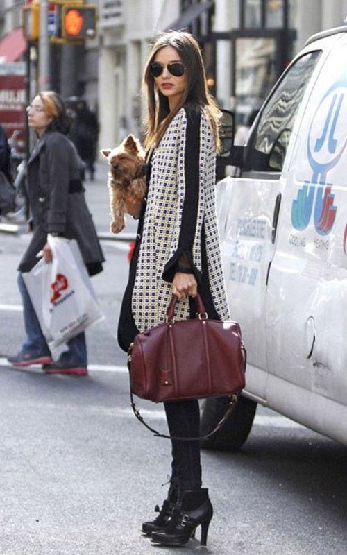 fall trend, burgundy bag: miranda kerr black white burgundy Louis Vuitton SC Sofia Coppola satchel