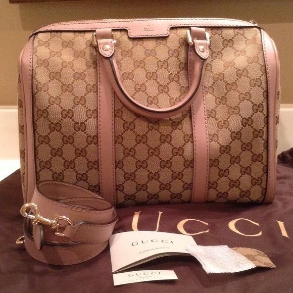 Gucci Boston bag PRICE FIRM 100% authentic Gucci Boston handbag.  Excellent condition! Perfect interior and exterior. Rarely used. Lovely mauve leather combined with the Gucci canvas makes for an elegant handbag. Comes with leather cross-body strap.  Still sold in stores. Comes with dust bag, small canvas patch, controllato tag and care card.  Purchased at Gucci in Houston Galleria Saks Fifth Avenue. More pictures for serious buyers only.  Thank you! Gucci Bags