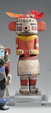 KACHINA Rugan danseur maïs Hopi, Arizona, Cottonwood, pigments, plumes vers 1920 Ht 24,5 cm