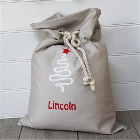 Large Personalised Santa Sack -  Christmas Tree