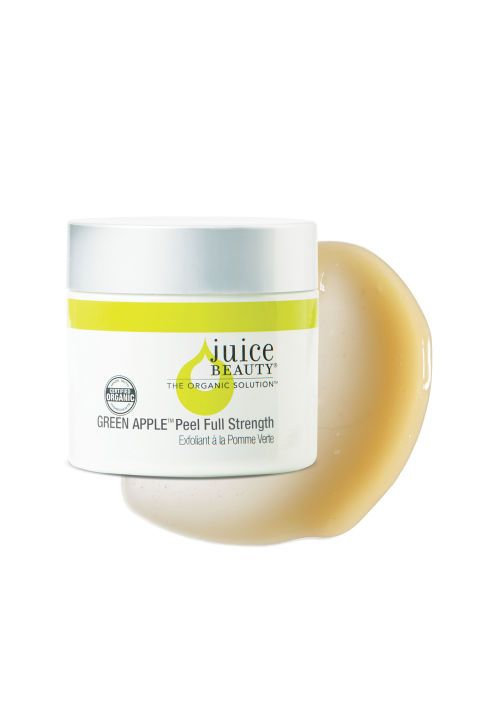 """The exfoliator that leaves Bandier's skin """"cleaner and smoother"""" than any other? Alpha and beta hydroxy Juice Beauty Green Apple Peel Full Strength, which contains brightening citrus and willow bark–derived salicylic acid."""