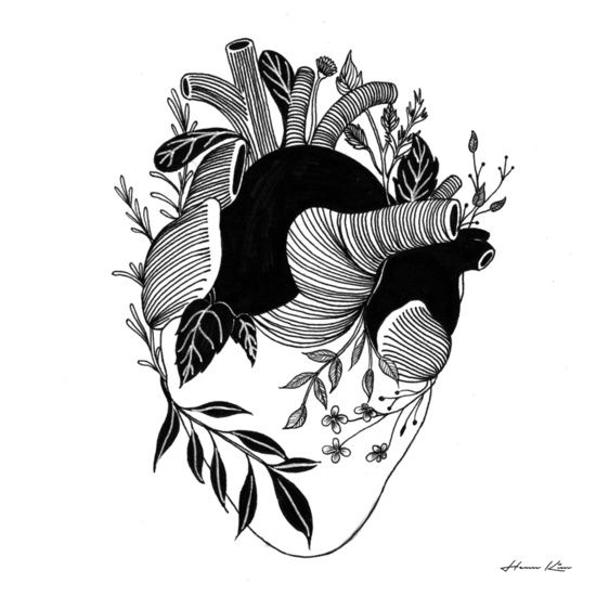 #corazón #plantas #vegetación #hennkim #henn #art #illustration #drawing #sketch #black #white #pen #inspire #creative #society6 #artprint #print
