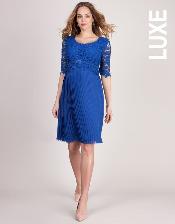 Turn heads at your next special occasion in our stunning sapphire blue maternity dress. Perfect for before, during and after pregnancy, this gorgeous lace dress is a real investment in style. The soft fitted bodice features a beautiful crochet lace overlay, and meets the feminine pleated skirt with a smart belted peplum at the empire waist. This helps to define your figure, creating a soft A line silhouette designed to flatter at every stage of pregnancy. An elegant choice for any special