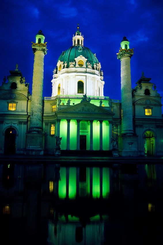 Karlskirche, Vienna, Austria. Our tips for things to do in Vienna: http://www.europealacarte.co.uk/blog/2010/07/28/the-best-of-vienna-travel-tips/