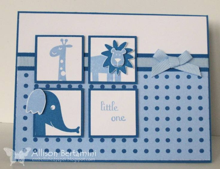 SC321 Baby Boy Animal Squares by Kaleen - Cards and Paper Crafts at Splitcoaststampers