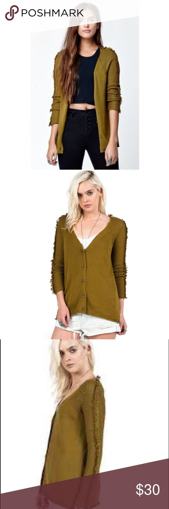Volcom Hazy Day Olive Green Cardigan Small Olive Green Cardigan by volcom with fringe detail on shoulder worn only a few times Volcom Sweaters Cardigans