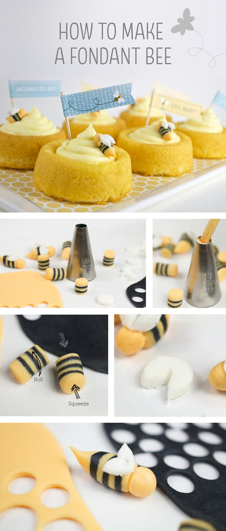 How to make a fondant bee. Cute for cupcakes or other desserts at a Mommy-to-Bee baby shower or a first bee-day party.