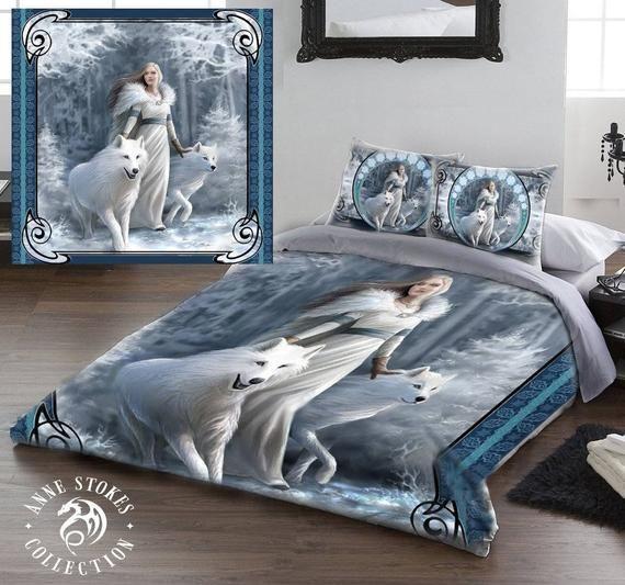Winter Guardians Duvet Pillow Cases Covers Set Kingsize Bed Anne Stokes Bed Linen Sets