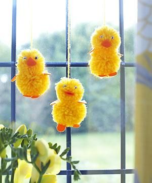 How to make Easter chicks with pompoms craft ideas for Easter allaboutyou.com