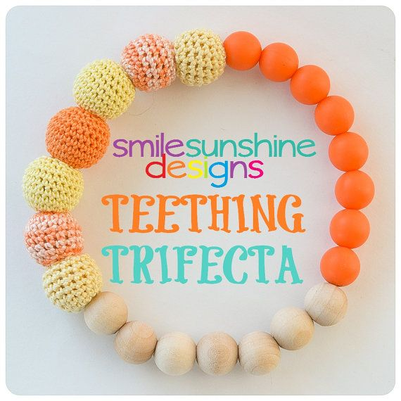 Teething Trifecta - Baby Silicone Teething, Crochet Nursing, Natural Wood Toy - The Number One Toy Your Teether Needs Smile Sunshine Designs