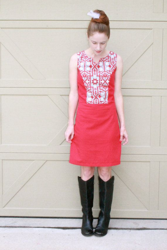 Red Go Go Dress 1960's Style Day  Dress Retro by SweetHomeBoutique, $85.00
