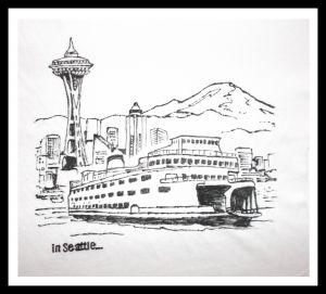 Grafika czarno-biała: Seattle