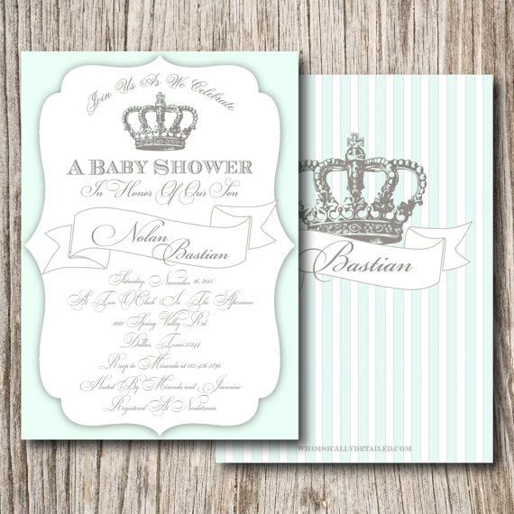 Gold, Crown, Baby Shower, Baptism, Christening, Prince, First Communion, Birthday, Invitation