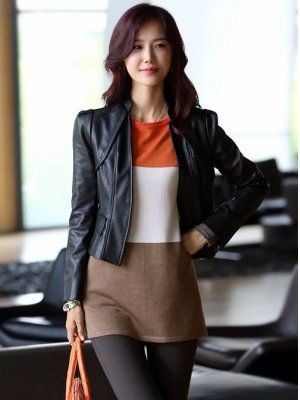 Brand New Fashion Stand Collar Leather Jacket