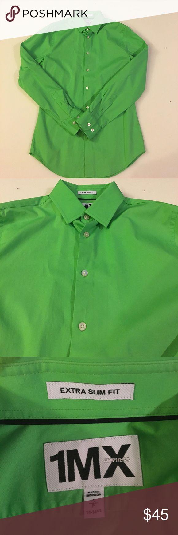 Men's Slim Fit Dress Shirt Men's Dress Shirt. Slim Fit. Green S Worn once for graduation. Great Condition! Send me an offer! Express Shirts Dress Shirts