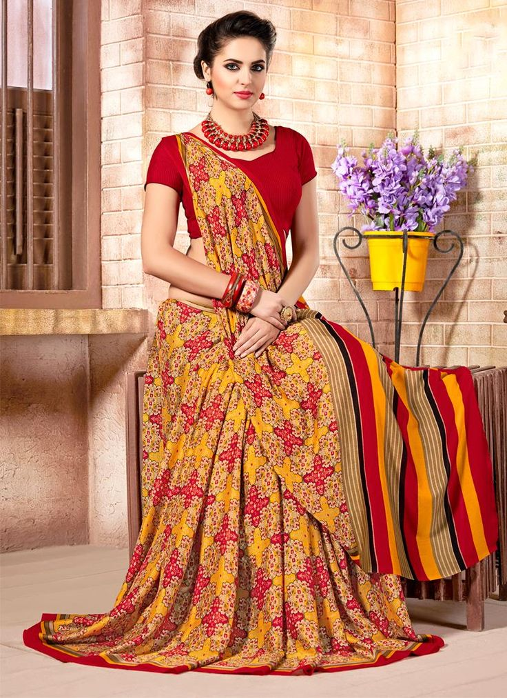 Experience the online shopping for indian traditional saree. Order this epitome print work multi colour casual saree.