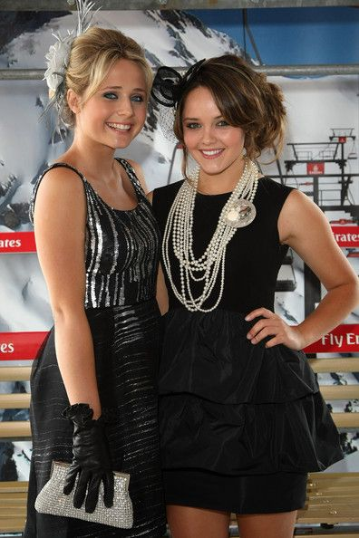 Rebecca Breeds amped up the class factor by wearing layers of pearl necklaces with her LBD.