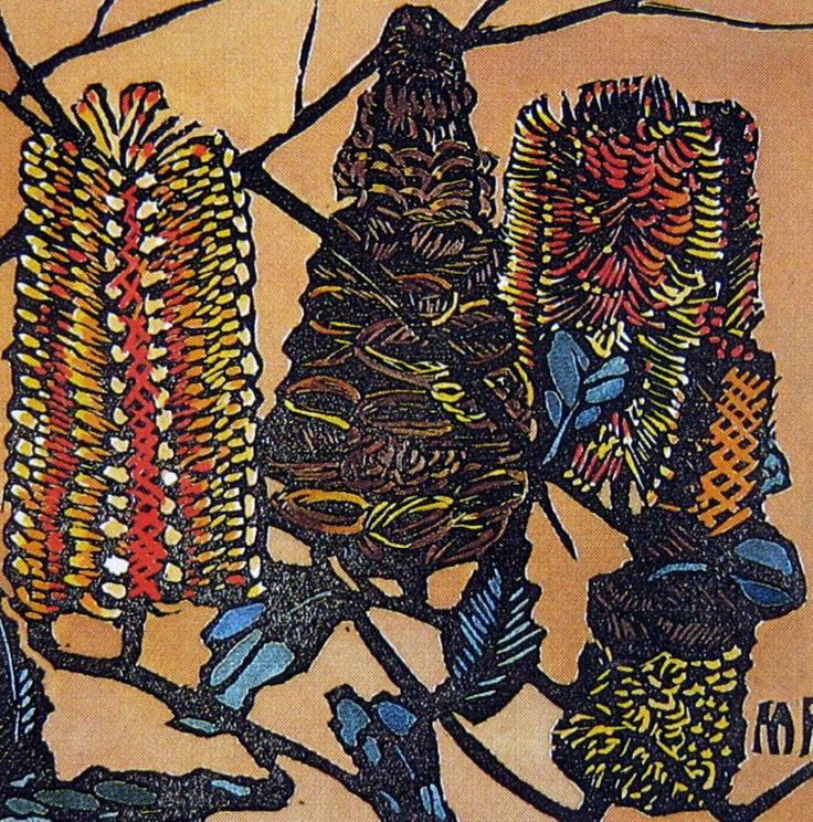 Margaret Preston   Woodblock  'Banksia NSW'  1932