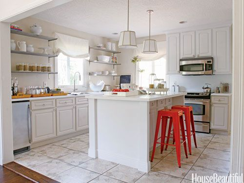 A fresh and airy kitchen makeover. Designed by T. Keller Donovan. housebeautiful.com #white_cabinets #kitchen_tips #small_budget #white_kitchen #red_stools: Beautiful Kitchens, Dreams Kitchens, Open Shelves, Houses Beautiful, Kitchens Ideas, Bar Stools, Pendants Lights, Design Kitchens, White Kitchens