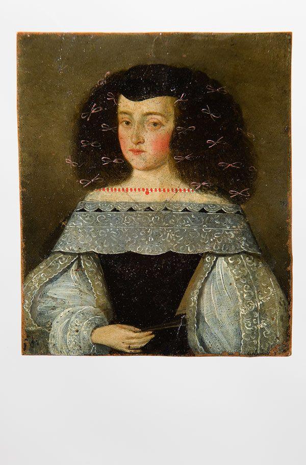 Miniatura Retrato de dama Escuela española, S. XVII Óleo sobre cobre